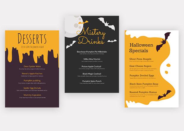Halloween specials menu
