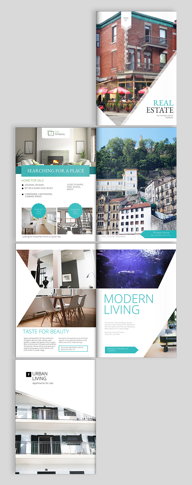Real estate brochure design templates and ideas for Property brochure template