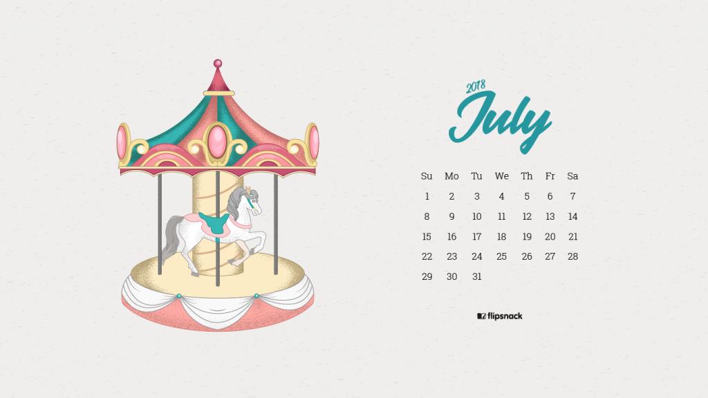 july 2018 wallpaper calendar carousel