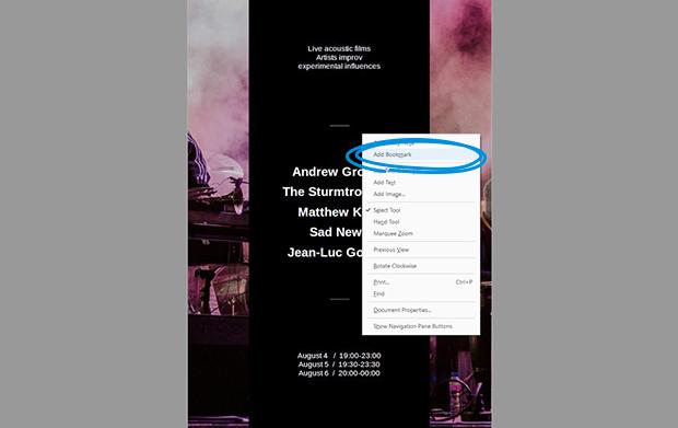 add bookmark Adobe Acrobat Pro