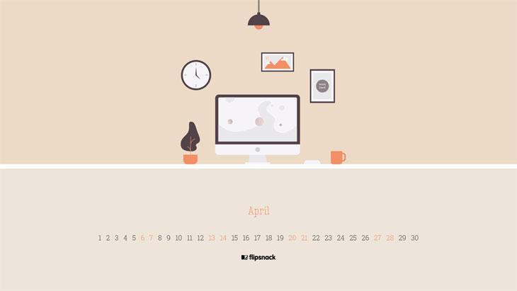 Free April 2019 wallpaper calendar